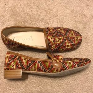 Boutique9 tribal red loafers size 6.5